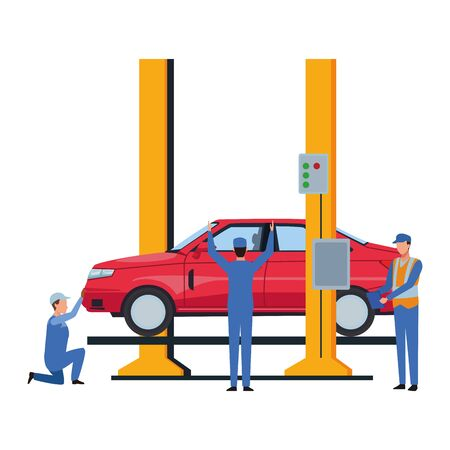 industry car manufacturing assembly car cartoon vector illustration graphic design Ilustrace