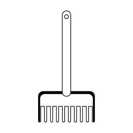 sand rake icon over white background, vector illustration