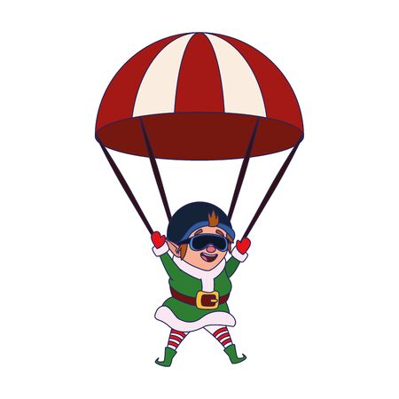 parachute with santas helper icon over white background, vector illustration
