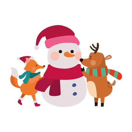 cartoon snowman with christmas fox and deer over white background, vector illustration