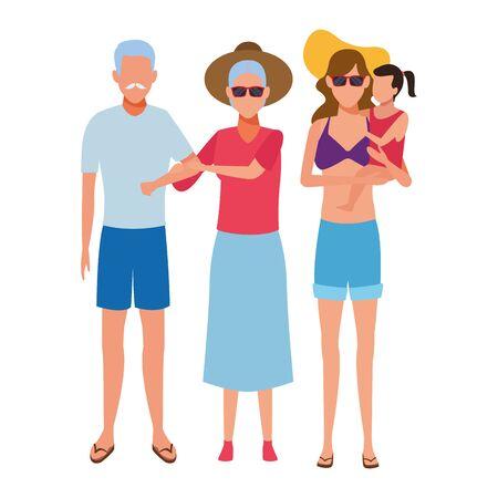family avatar cartoon character wearing swimwear sunglasses and hat vector illustration graphic design Foto de archivo - 134810259