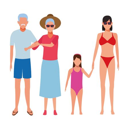 family avatar cartoon character wearing summer clothes sunglasses vector illustration graphic design Foto de archivo - 134810262