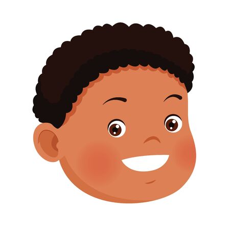 cute boy face icon over white background, vector illustration
