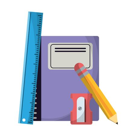 School utensils and supplies ruler and sharpener with book