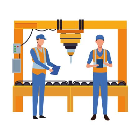 industry manufacturing workers manipulating machine cartoon vector illustration graphic design Standard-Bild - 134495469