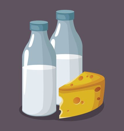 milk bottles and piece of cheese over gray background, colorful design , vector illustration