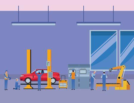car service manufacturing workers assembling cartoon vector illustration graphic design Çizim
