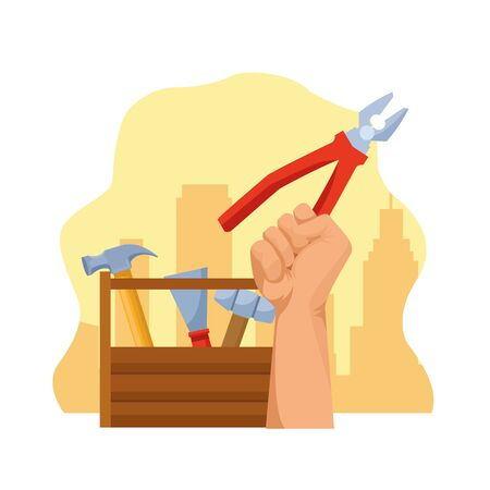 tools box and hand holding a pliers over yellow and white background, colorful design , vector illustration