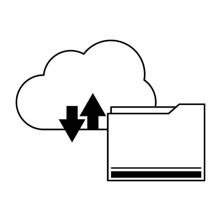 technology software cloud tools cartoon vector illustration graphic design in black and white Çizim