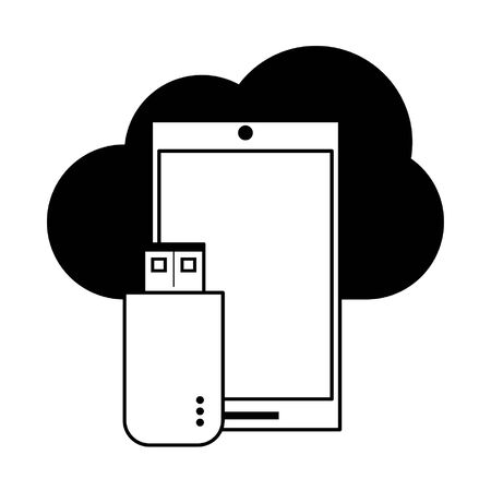 technology smartphone software tools cartoon vector illustration graphic design in black and white Çizim
