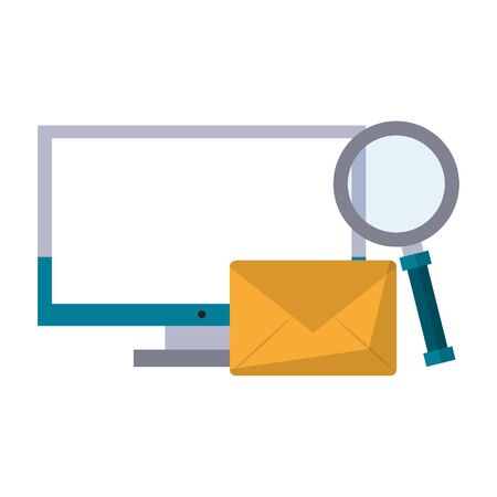 computer with magnifying glass and envelope icon cartoon vector illustration graphic design