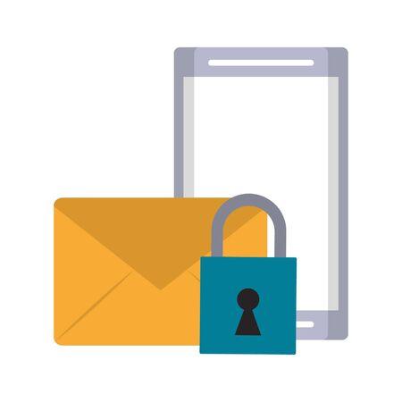 cellphone envelope and padlock icon cartoon vector illustration graphic design