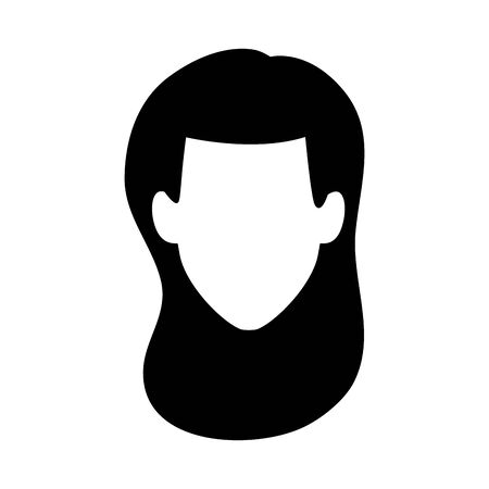 default woman face icon over white background, vector illustration Archivio Fotografico - 134810325