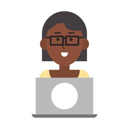 woman with laptop icon cartoon vector illustration graphic design Illusztráció