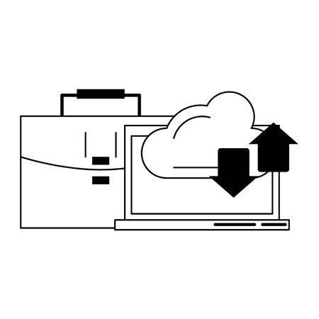 computer cloud transfer and briefcase icon cartoon vector illustration graphic design Illusztráció