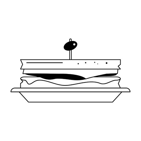 Sandwich with olive on dish food vector illustration graphic design