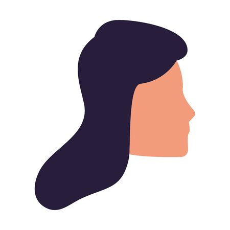 profile of avatar woman face icon over white background, vector illustration