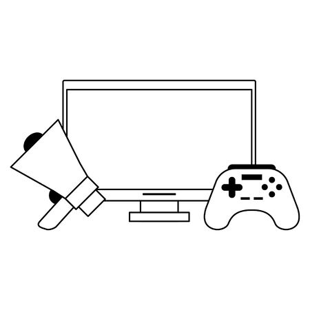 computer with megaphone and control icon cartoon vector illustration graphic design