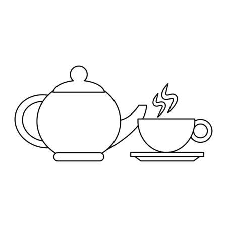 Coffee porcelain kettle and hot mug vector illustration graphic design