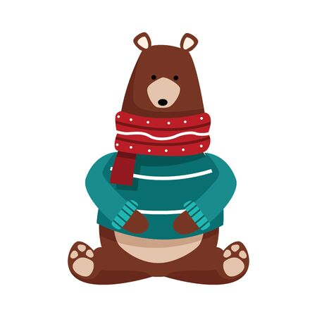 christmas bear with sweater and scarf over white background, vector illustration