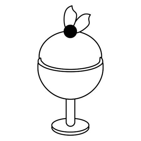 Ice cream in glass cup dessert vector illustration graphic design