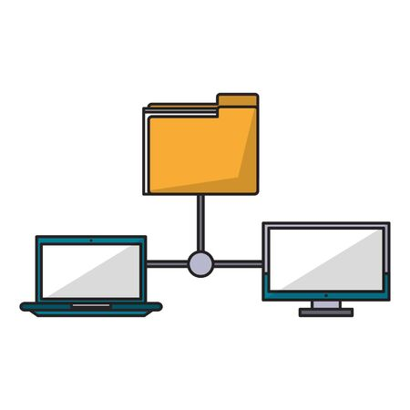 computers and documents folder icon cartoon vector illustration graphic design