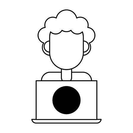 man with laptop icon cartoon vector illustration graphic design