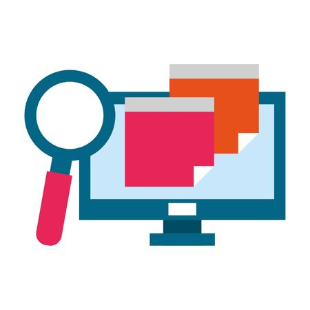 computer with magnifying glass icon cartoon vector illustration graphic design