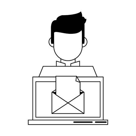 computer with envelope icon cartoon vector illustration graphic design Illusztráció