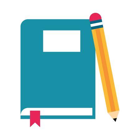 book and pencil icon cartoon vector illustration graphic design