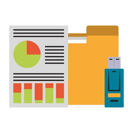 documents with data chart icon cartoon vector illustration graphic design