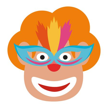 Clown face with mask blue cartoon Ilustrace