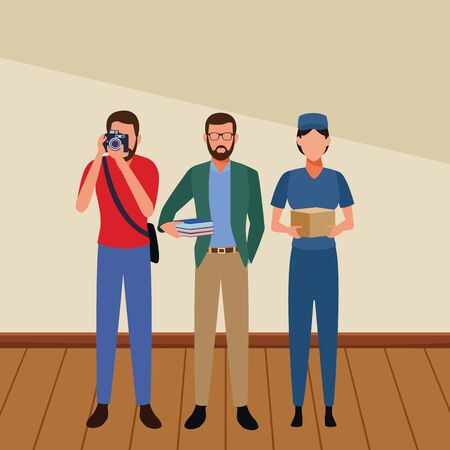 Jobs and professions professionals workers inside building wooden floor vector illustration graphic design Illusztráció