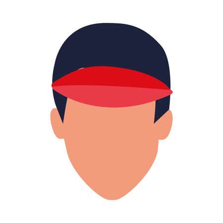 avatar man wearing a cap icon over white background, vector illustration