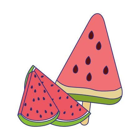 ice cream of watermelon fruit over white background, vector illustration 向量圖像