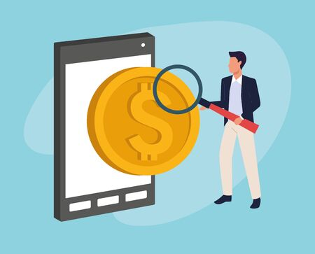 avatar businessman with money coin and smartphone over blue background, colorful design , vector illustration