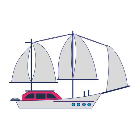 Sail boat ship sideview cartoon isolated vector illustration graphic design