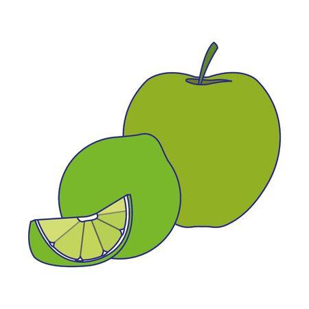 apple and lemon icon over white background, vector illustration Illustration