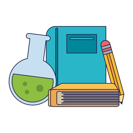 School utensils and supplies books and pencil with chemistry flask Design Illusztráció