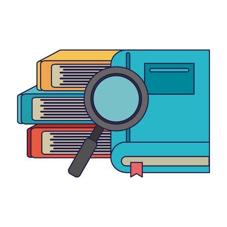 School utensils and supplies books and magnifying glass Design Illusztráció