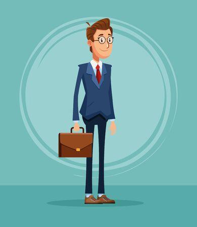 Businessman banker with briefcase cartoon vector illustration graphic design Illusztráció