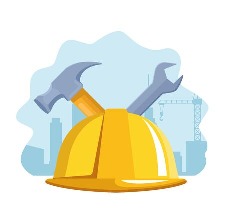 safety helmet with hammer and wrench over white background, colorful design , vector illustration