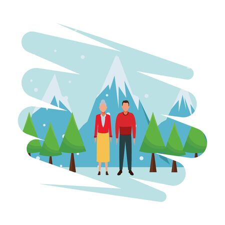 old woman and man wearing winter clothes snow mountain lanscape vector illustration graphic design
