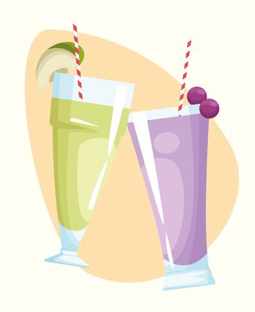 apple and grape juices over white background, colorful design , vector illustration Illusztráció