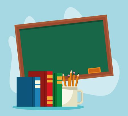 school chalkboard with books and mug with pencils over blue background, colorful design , vector illustration