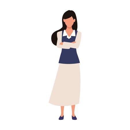 avatar businesswoman standing icon over white background, vector illustration Illusztráció