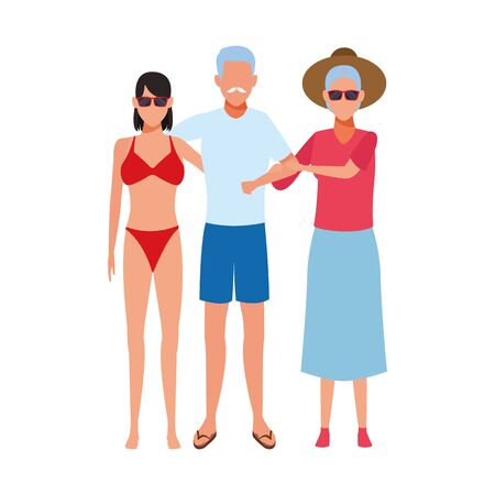 old couple and woman wearing beach clothes icon over white background, colorful design. vector illustration