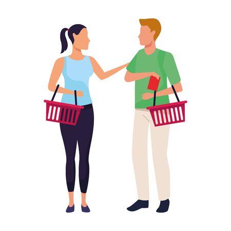 avatar man and woman with supermarket baskets over white background, vector illustration Illusztráció