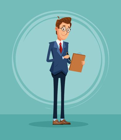 Businessman banker with clipboard business report cartoon vector illustration graphic design