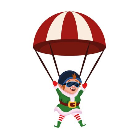 parachute with elf  icon over white background, vector illustration